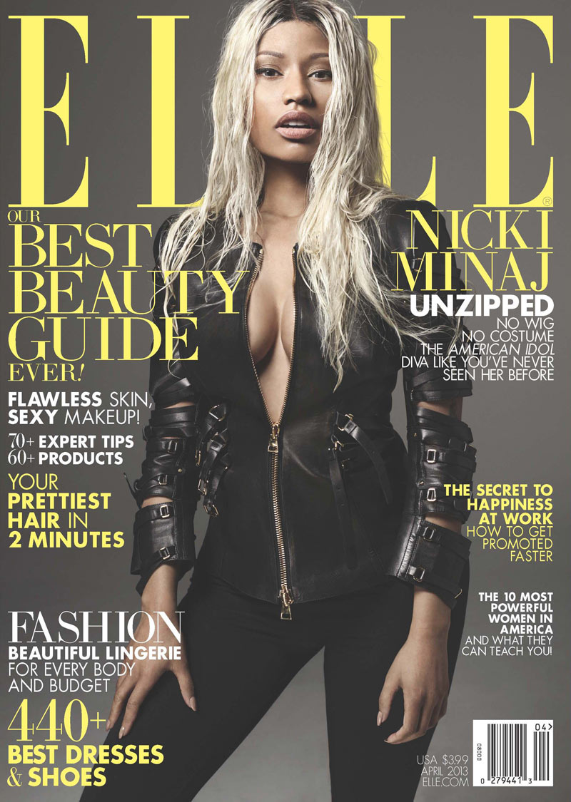 ELLE April 13 cover Nicki Minaj Nicki Minaj Gets a Make under for Elle US April 2013 Cover Shoot