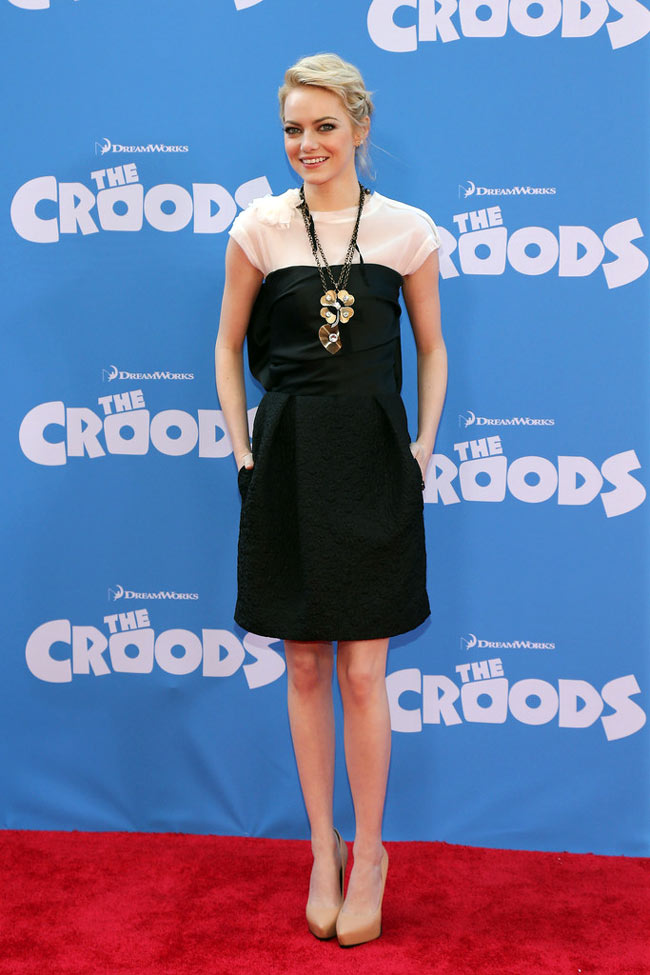 """Emma Stone in Lanvin at """"The Croods"""" New York Premiere"""