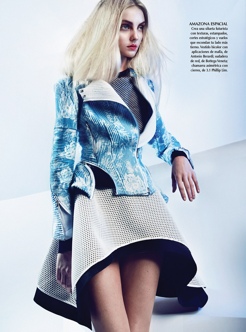 HeatherMarksVogueLA4 Heather Marks Wears Shades of Blue for Vogue Latin America April 2013 by Kevin Sinclair