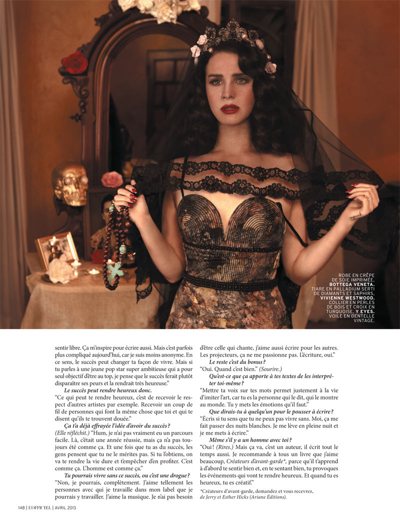 LanaDelReyLofficiel13 Lana Del Rey Gets Romantic for LOfficiel Paris April 2013 Cover Shoot