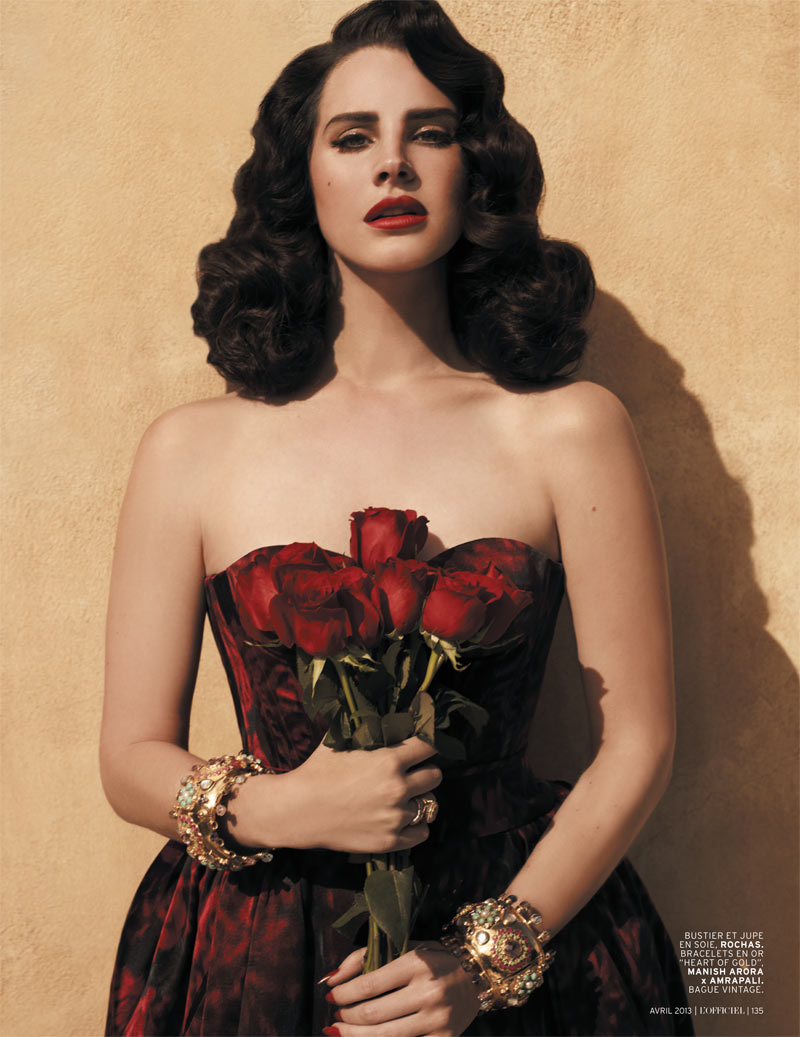 LanaDelReyLofficiel2 Lana Del Rey Gets Romantic for LOfficiel Paris April 2013 Cover Shoot