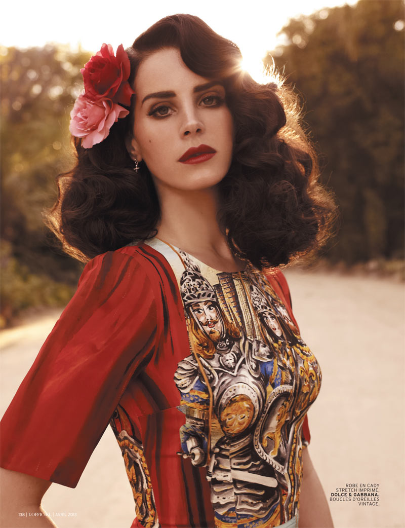 LanaDelReyLofficiel5 Lana Del Rey Gets Romantic for LOfficiel Paris April 2013 Cover Shoot