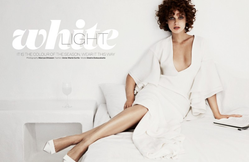 MO elle white 7 800x520 Giedre Dukauskaite Dons Ivory Style for Elle UKs April Issue by Marcus Ohlsson