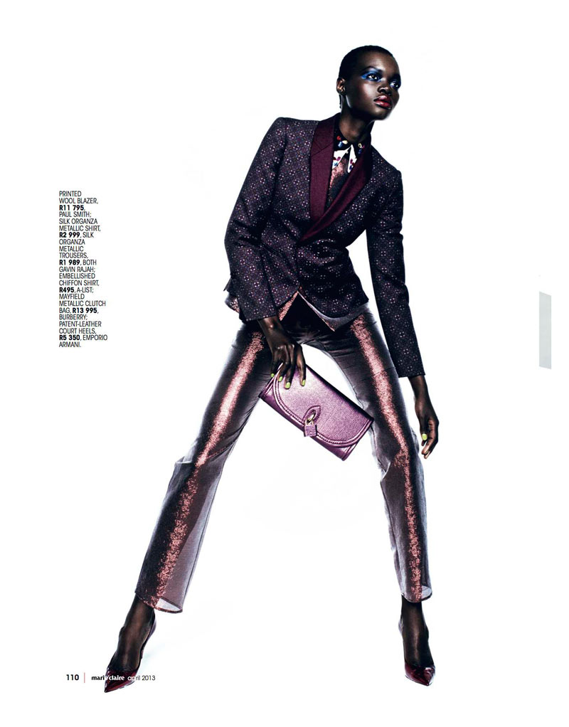 Aluad Deng Anei Suits Up for Marie Claire South Africa's April Issue