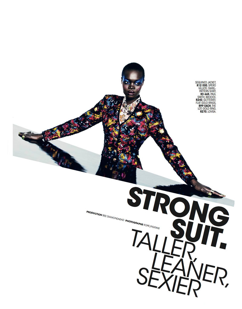Marie 0413 pg111 Aluad Deng Anei Suits Up for Marie Claire South Africas April Issue