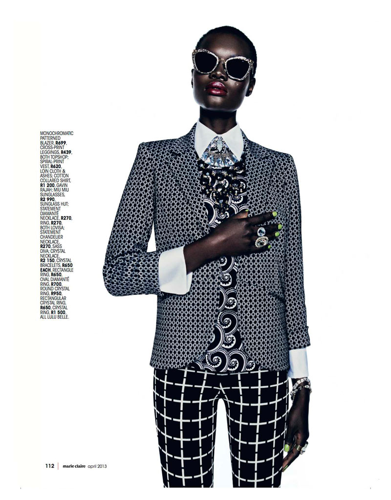 Marie 0413 pg112 Aluad Deng Anei Suits Up for Marie Claire South Africas April Issue