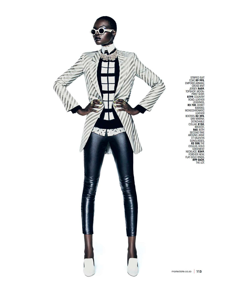 Marie 0413 pg113 Aluad Deng Anei Suits Up for Marie Claire South Africas April Issue