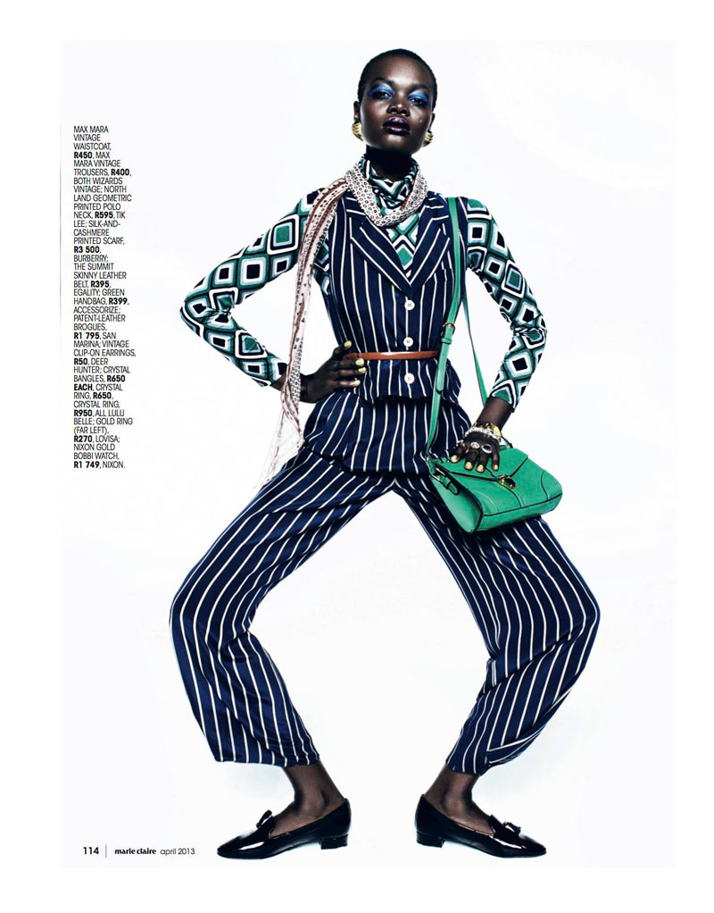 Marie 0413 pg114 Aluad Deng Anei Suits Up for Marie Claire South Africas April Issue