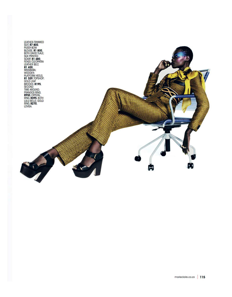 Marie 0413 pg115 Aluad Deng Anei Suits Up for Marie Claire South Africas April Issue