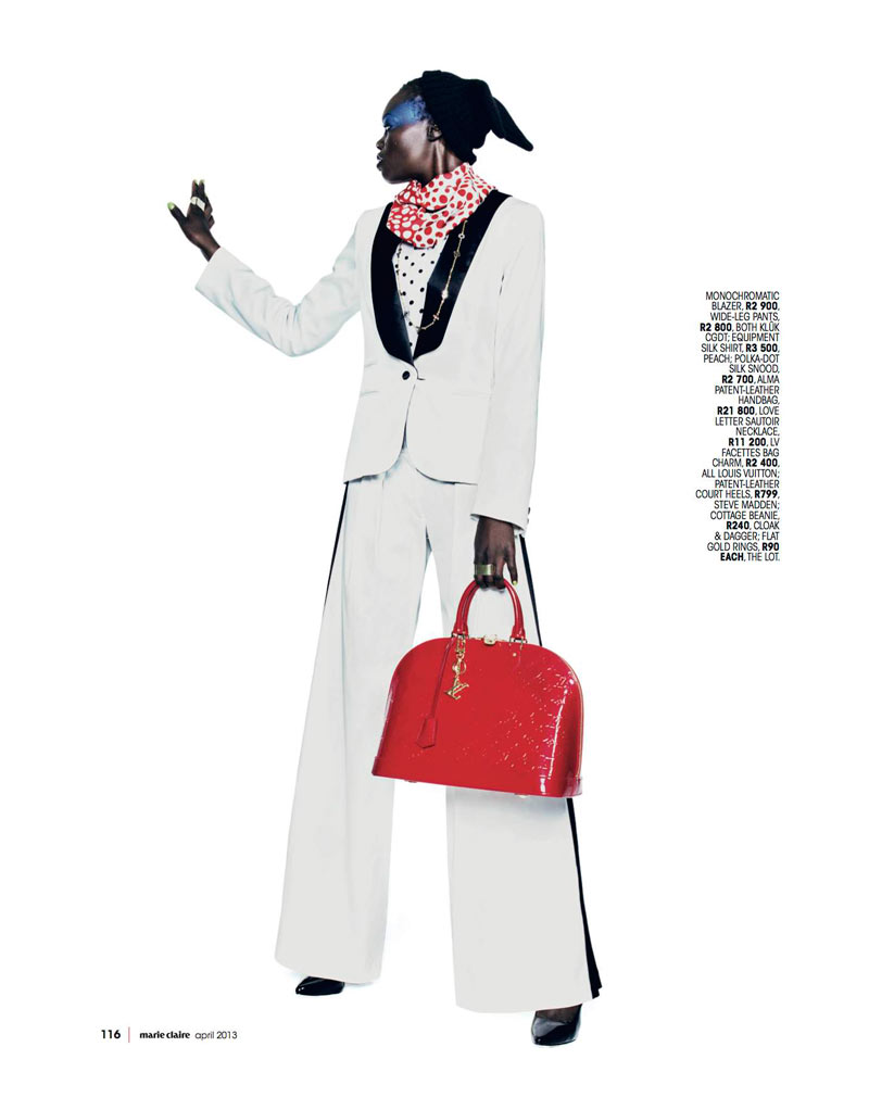 Marie 0413 pg116 Aluad Deng Anei Suits Up for Marie Claire South Africas April Issue
