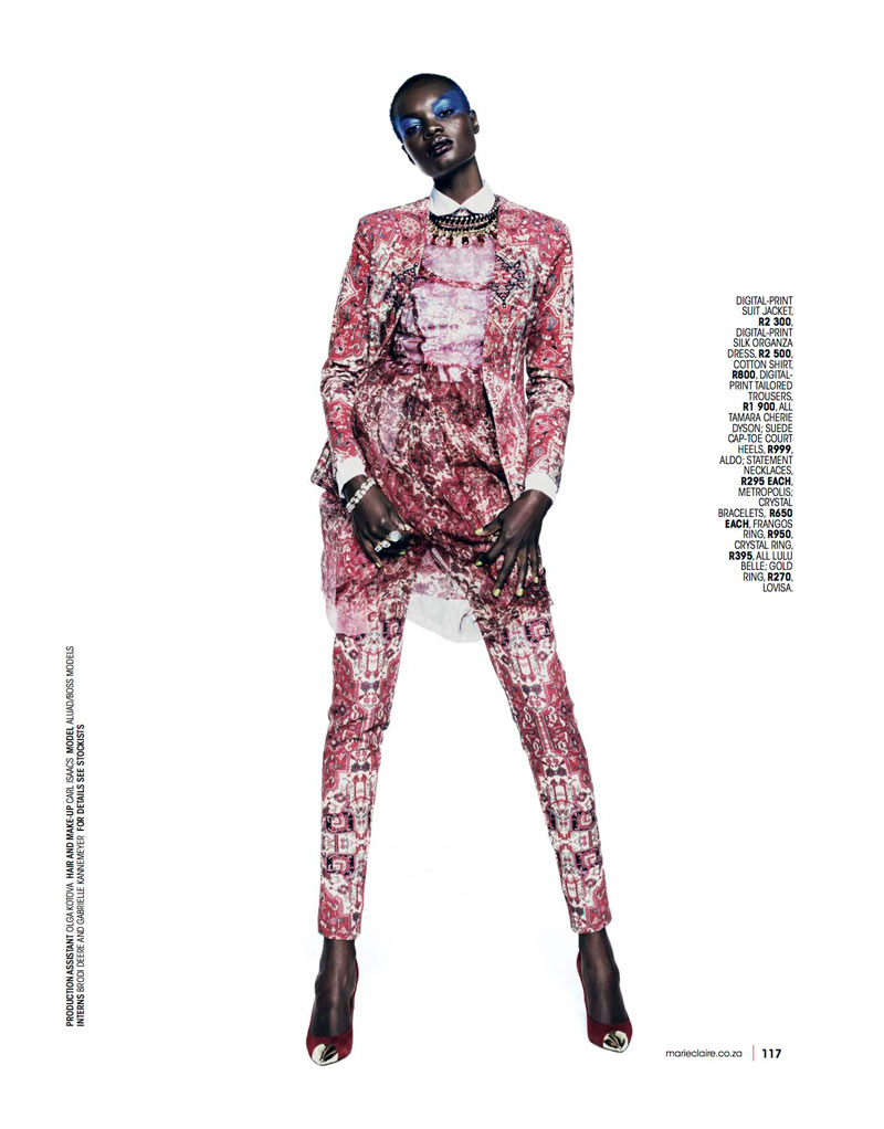 Marie 0413 pg117 Aluad Deng Anei Suits Up for Marie Claire South Africas April Issue