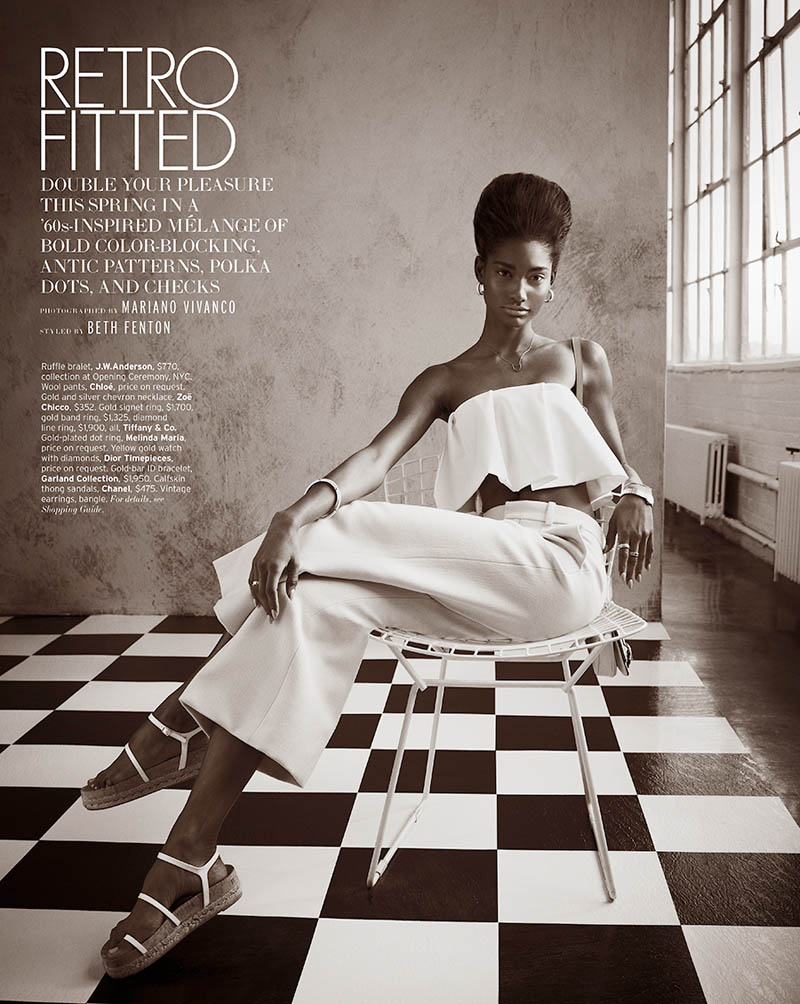 MelodieMonroseElle1 Melodie Monrose is 60s Glam for Mariano Vivanco in Elle US April 2013
