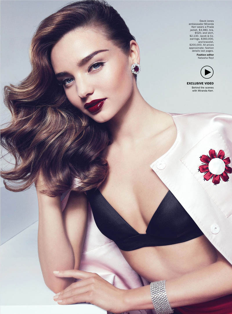 MirandaKerrVogueShoot1 Miranda Kerr Sports Spring Styles for Vogue Australias April Cover Shoot
