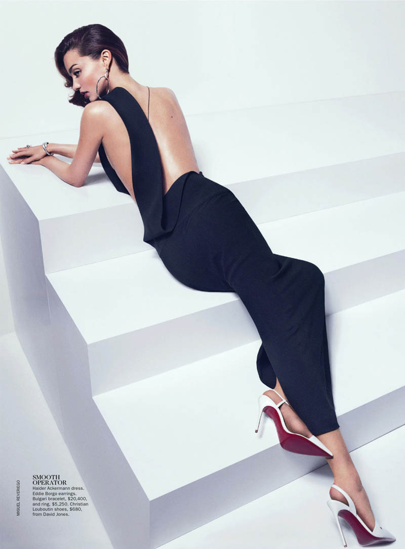 Miranda Kerr Sports Spring Styles for Vogue Australia's April Cover Shoot