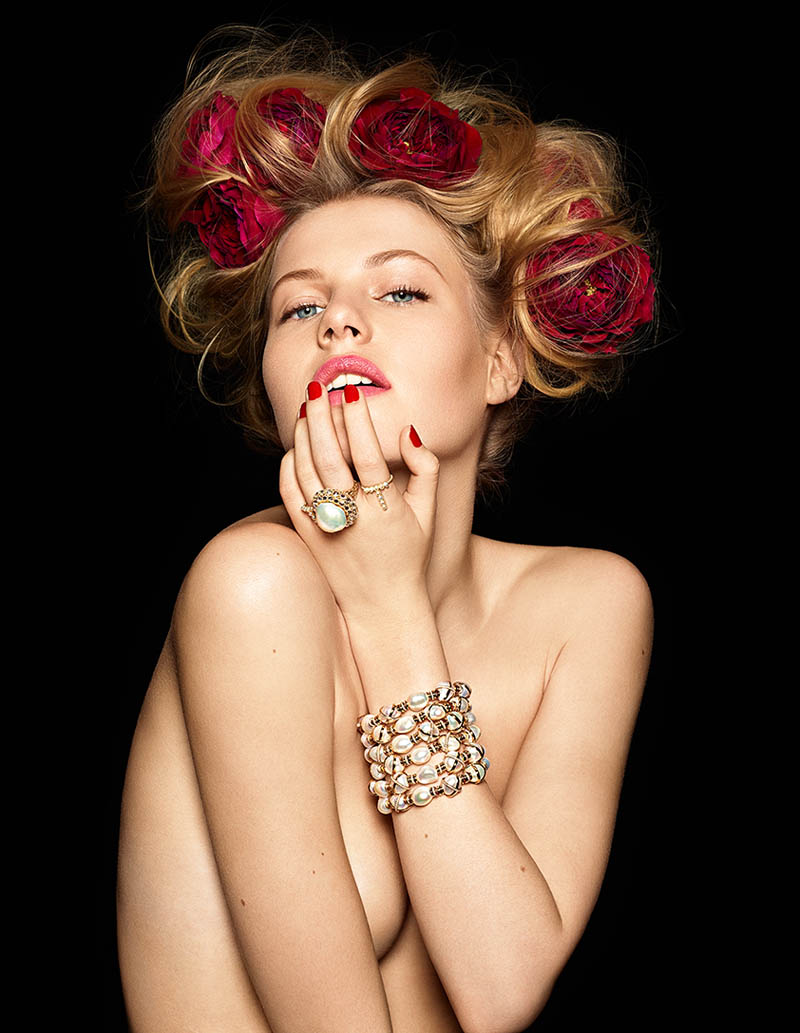 Pearls diamonds and flowers 1A Lisette Gets Clad in Flowers and Gems for Madame Figaro by Gyslain Yarhi
