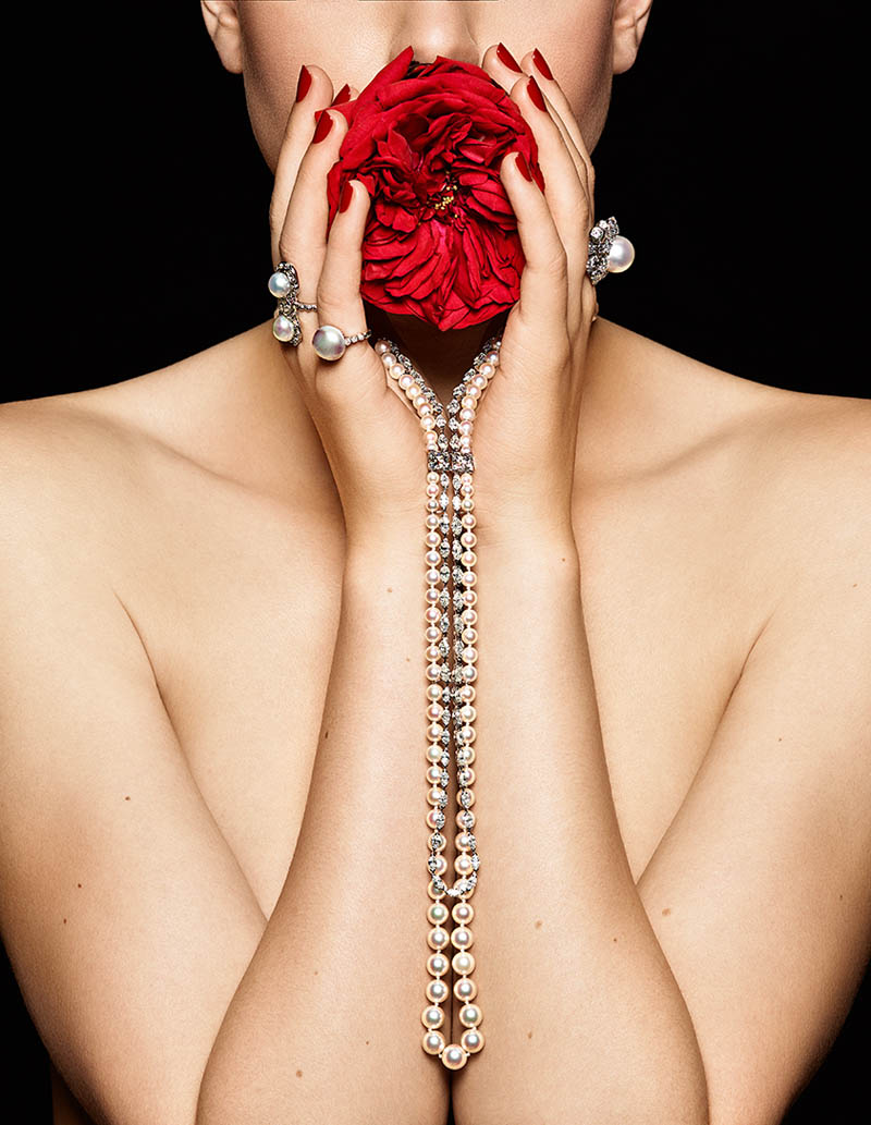 Pearls diamonds and flowers 4 Lisette Gets Clad in Flowers and Gems for Madame Figaro by Gyslain Yarhi