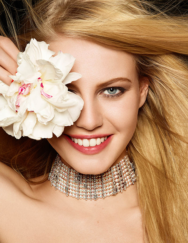 Pearls diamonds and flowers 5 Lisette Gets Clad in Flowers and Gems for Madame Figaro by Gyslain Yarhi