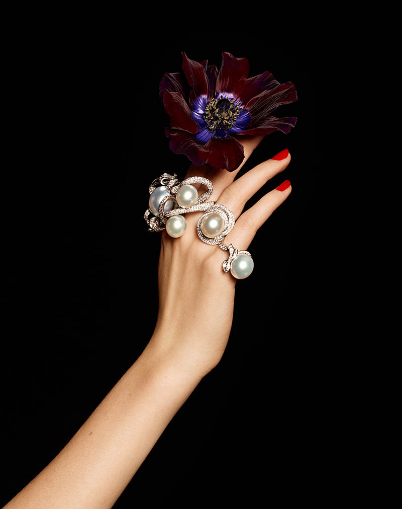 Pearls diamonds and flowers 6 Lisette Gets Clad in Flowers and Gems for Madame Figaro by Gyslain Yarhi