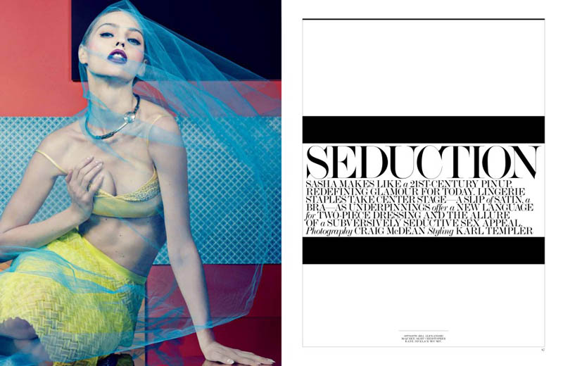 SashaPivovarovaInterview1 Sasha Pivovarova Seduces for Interview Magazines April Issue by Craig McDean