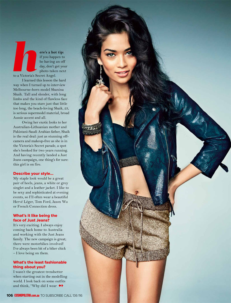 ShaninaCosmoAus2 Shanina Shaik Stars in Cosmopolitan Australias April Issue by Steven Chee