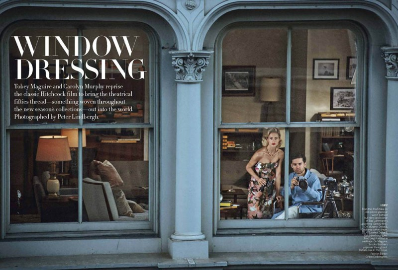 Vogue Apr13 WindowDressing Page 1 800x544 Carolyn Murphy and Tobey Maguire Pose for Peter Lindbergh in Vogue US April 2013