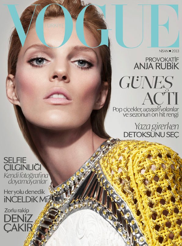 anja rubik vogue turkey cover Anja Rubik Covers Vogue Turkey April 2013 in Balmain