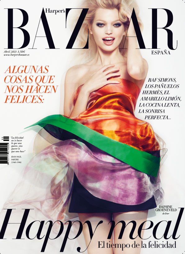 bazaar spain daphne groeneveld cover Daphne Groeneveld Dons Dior for Harpers Bazaar Spains April 2013 Cover