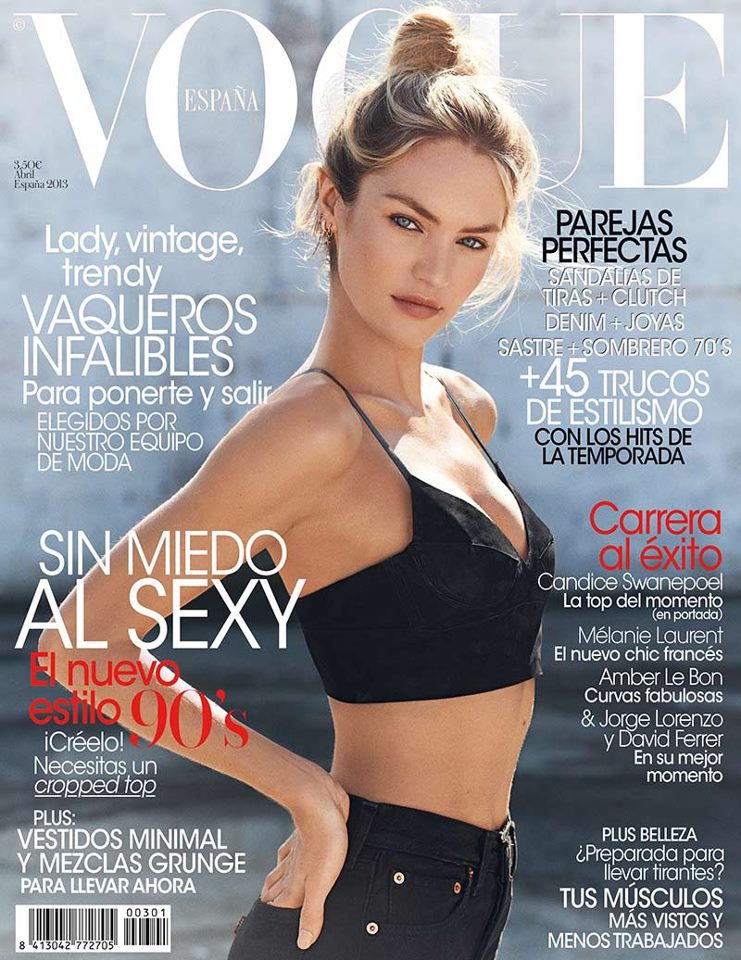 candicecover Candice Swanepoel Keeps it Simple for Vogue Spains April 2013 Cover