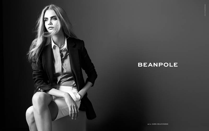 cara delevingne bean pole1 Cara Delevingne Fronts Beanpoles Spring 2013 Campaign