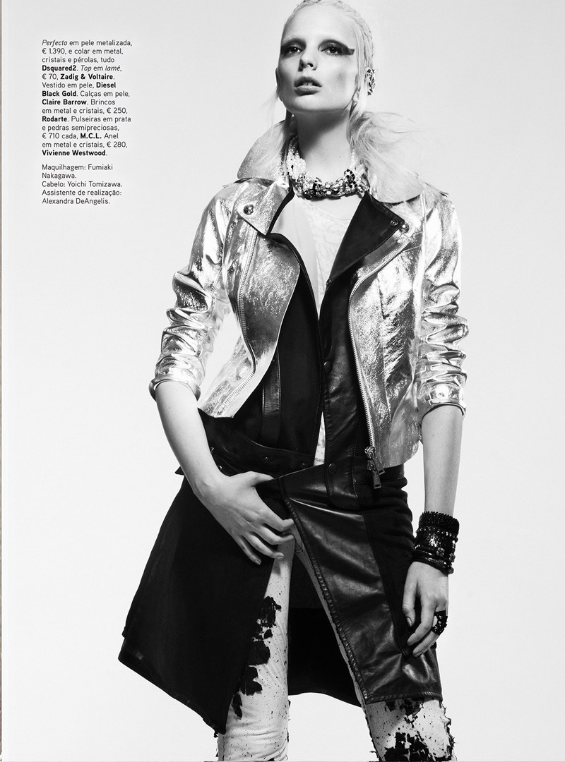 chrystal copland vogue portugal8 Chrystal Copland is Biker Chic for Kevin Sinclair In Vogue Portugal April 2013