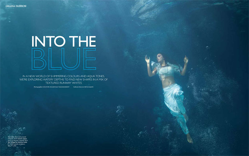 grazia india into blue1 Angela Jonsson Goes Into the Blue for Grazia India March 2013
