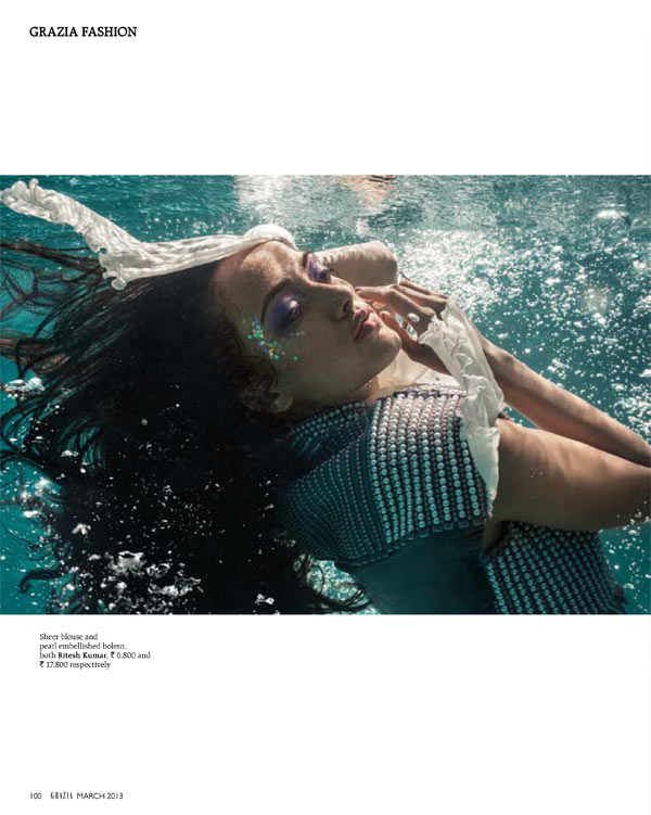 Angela Jonsson Goes 'Into the Blue' for Grazia India March 2013
