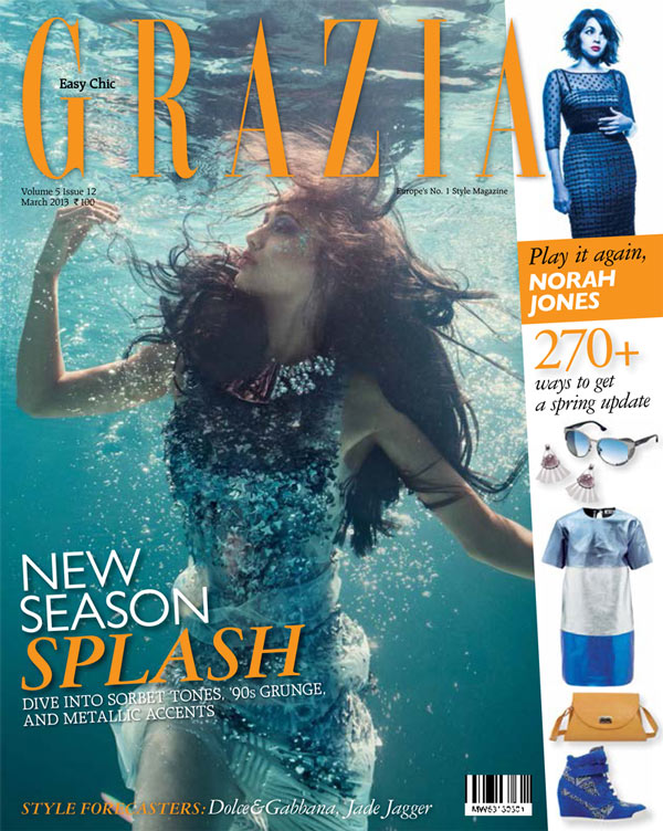 grazia india into blue9 Angela Jonsson Goes Into the Blue for Grazia India March 2013