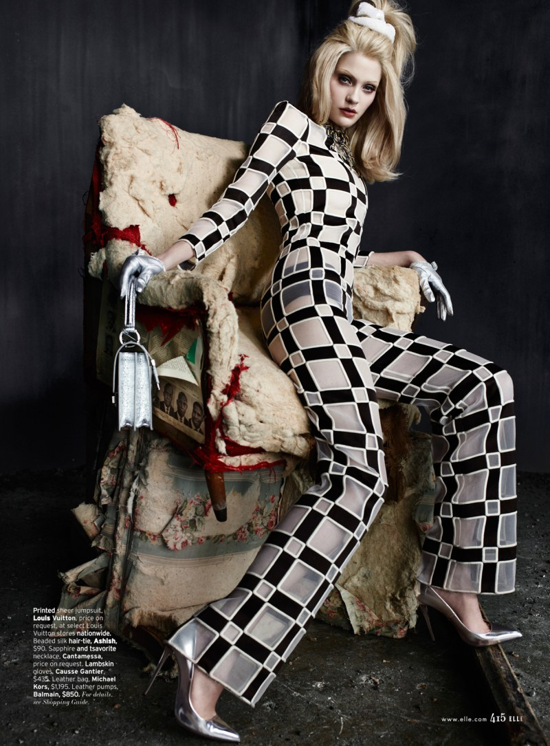 heidi mount elle catherine servel4 Heidi Mount Dons 60s Chic for Elle US March 2013 by Catherine Servel