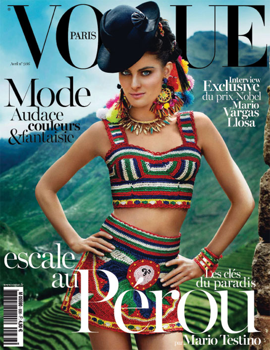 Isabeli Fontana is Colorful in Dolce & Gabbana for Vogue Paris' April 2013 Cover