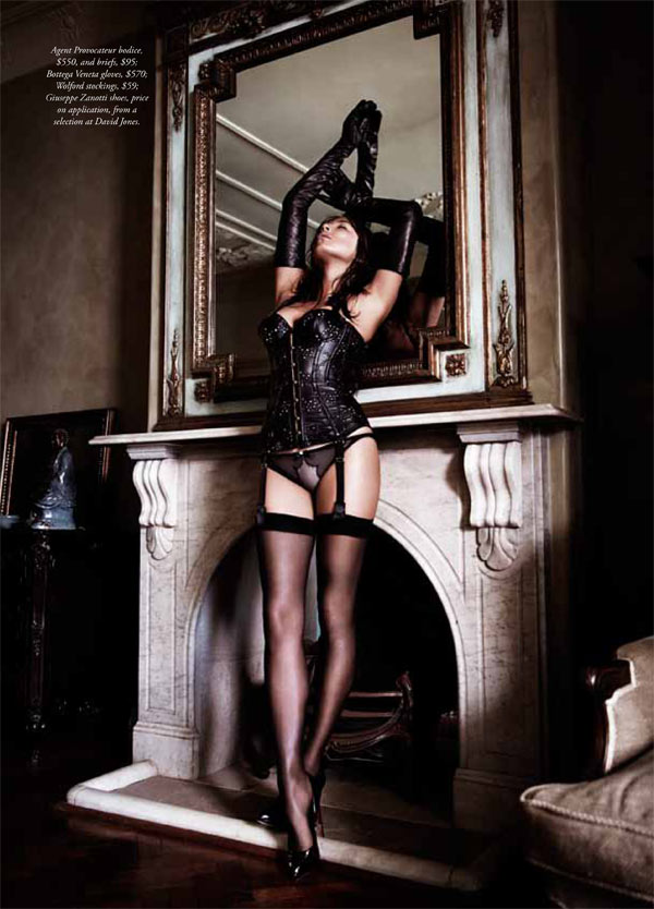 jessica gomes lingerie6 Jessica Gomes Seduces in Agent Provocateur for Harpers Bazaar Australia by Simon Lekias