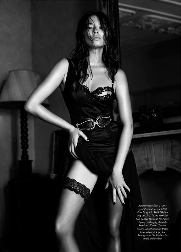 jessica gomes lingerie7 Jessica Gomes Seduces in Agent Provocateur for Harpers Bazaar Australia by Simon Lekias