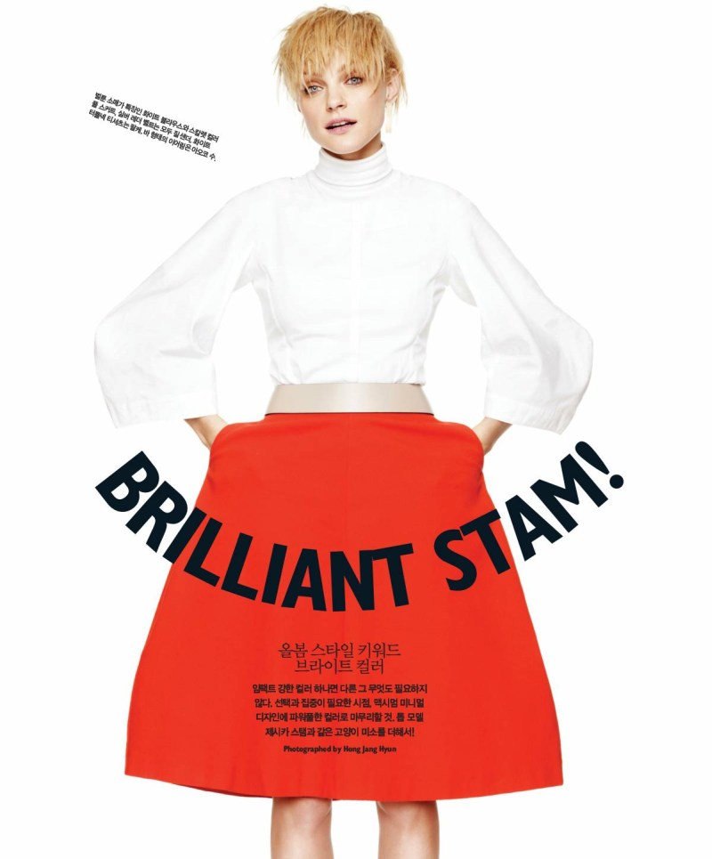 jessica stam singles korea1 Jessica Stam Shines in Singles Koreas March Issue