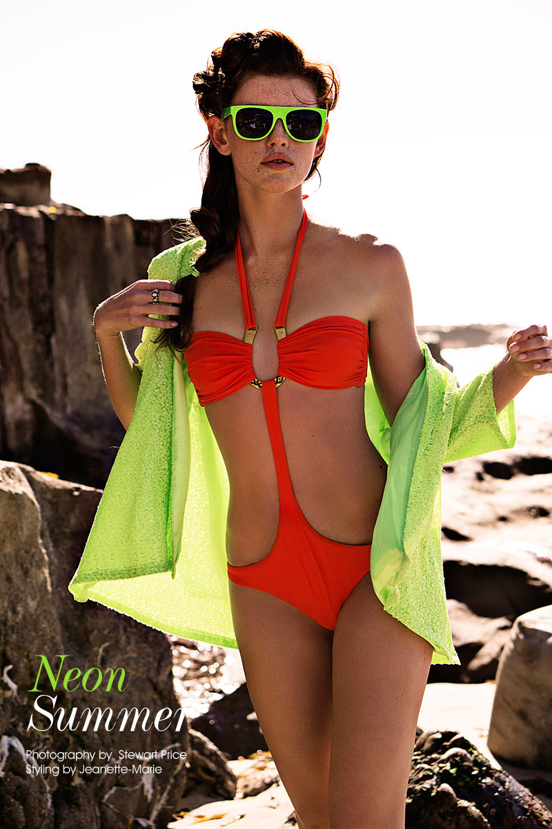 neon swim Kate Potter by Stewart Price in Neon Summer for Fashion Gone Rogue