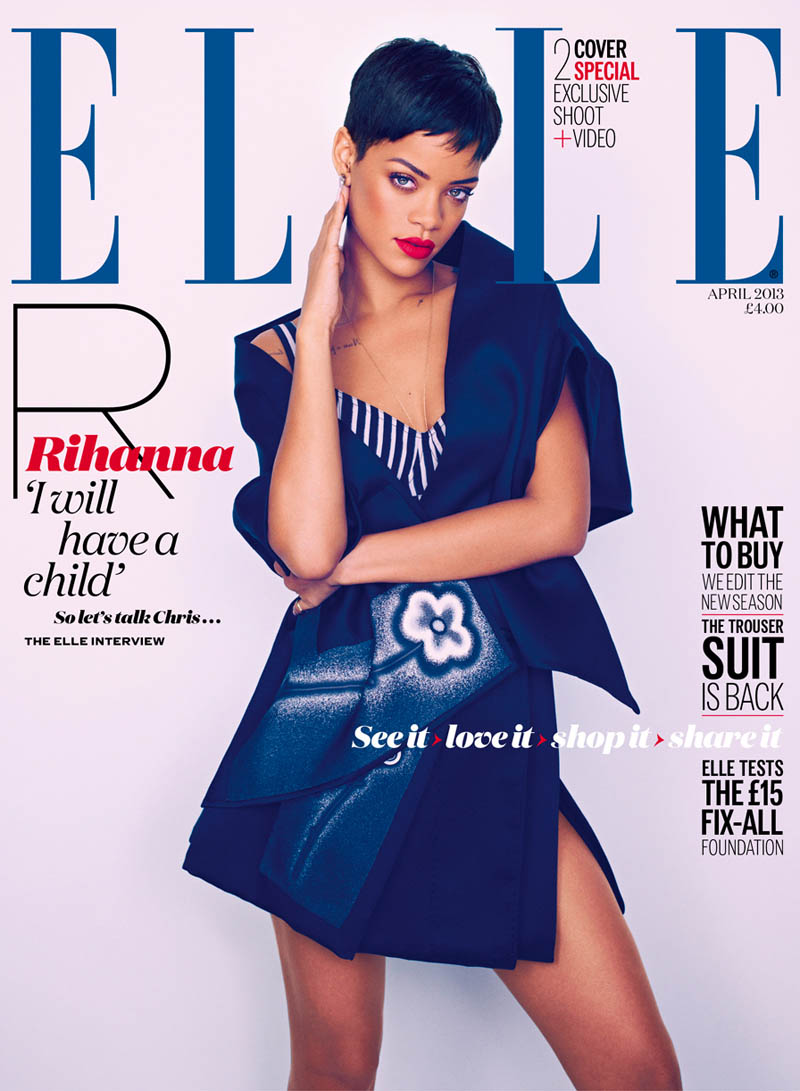 rihanna mariano vivanco elle3 COVERED: The April 2013 Covers of Fashion Magazines Revisited