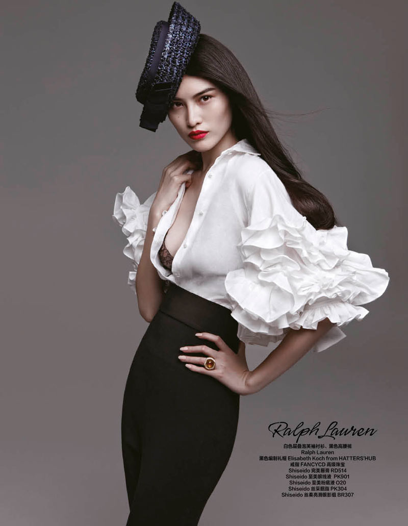 sui he bazaar china4 Sui He Models the Spring Collections for Harpers Bazaar Chinas March Cover shoot