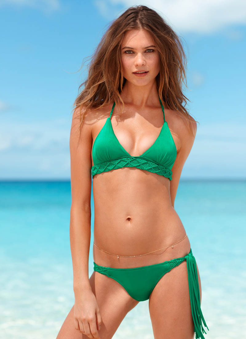 swim 2 2013 behati prinsloo very sexy macrame bikini victorias secret hi res Karlie Kloss, Candice Swanepoel, Barbara Palvin, Magdalena Frackowiak and Others Star in Victorias Secret Swim 2013 Catalogue
