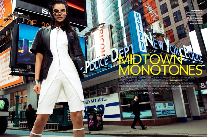 vogue thailand monotones1 Simon Cave Captures Liza Golden in the Big Apple for Vogue Thailand March 2013