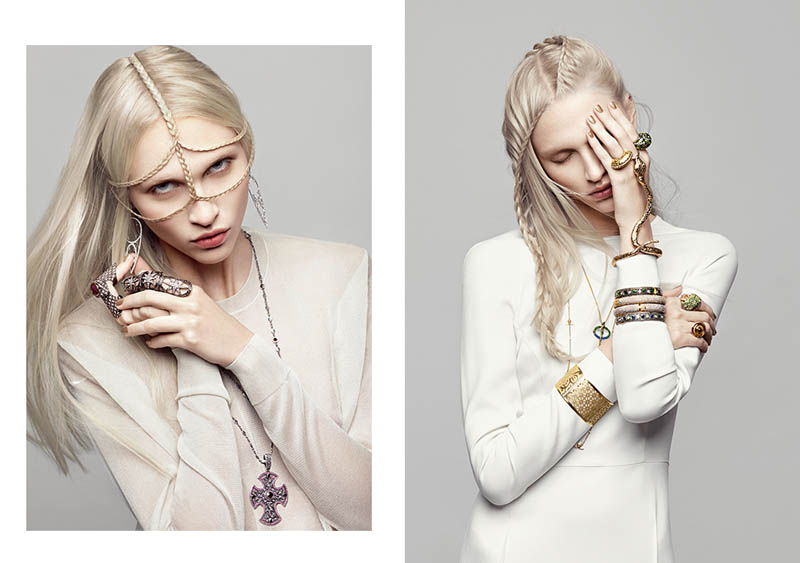 Yulia Lobova Shines in Serpentine Jewelry for Harper's Bazaar Ukraine March 2013 by Federica Putelli