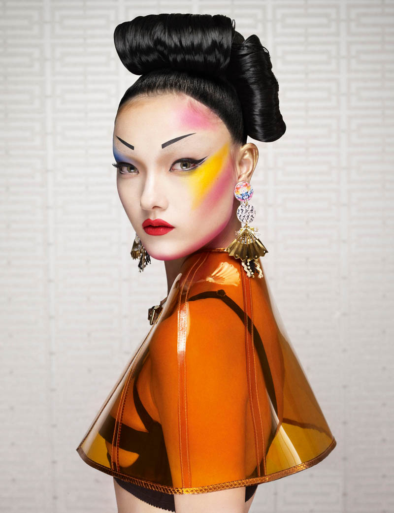 yumi jalouse geisha1 Yumi Lambert is a Pop Geisha for Jalouse March 2013 by Erwin Olaf