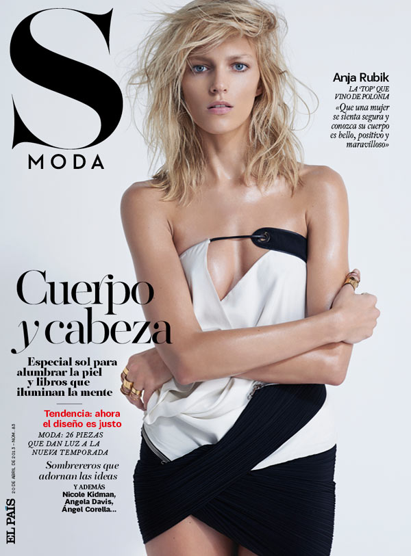 AnjaRubikSModa7 Anja Rubik is Sexy Cool for Eric Guillemain in S Modas April 2013 Cover Shoot