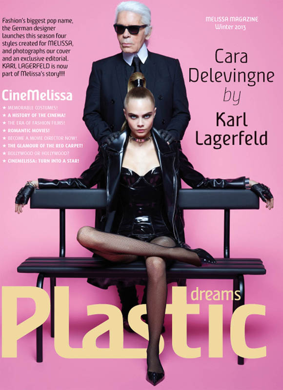 CaraMelissaKarlLagerfeld1 Cara Delevingne is A Shoe Vixen for Karl Lagerfeld In Melissa Magazine Winter 2013