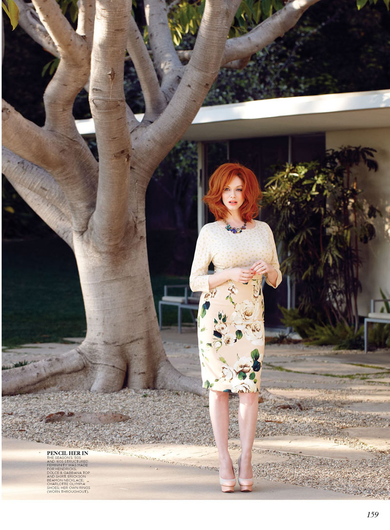 ChristinaHendricksFlare2 Christina Hendricks Stars in Flares May 2013 Cover Story by Max Abadian
