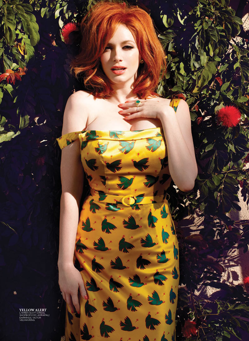 ChristinaHendricksFlare3 Christina Hendricks Stars in Flares May 2013 Cover Story by Max Abadian