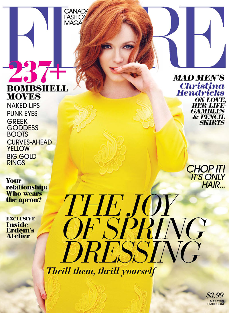 ChristinaHendricksFlare6 Christina Hendricks Stars in Flares May 2013 Cover Story by Max Abadian